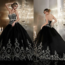 2017 New Embroidery Black Wedding Dress Prom Party Ball Gown Quinceanera Dresses