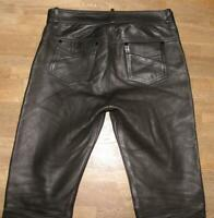 "GENUINE LEATHER Herren- LEDERJEANS / Biker- Lederhose in schwarz ca. W36"" /L30"""