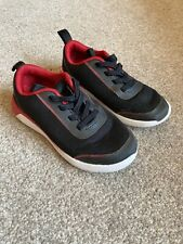 Boys Clarks Trainers 8.5F Black Red Slip On Pumps