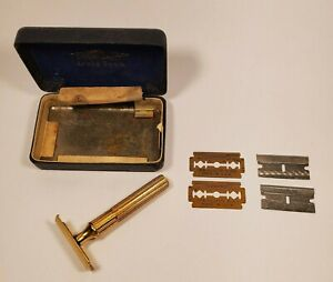 Parts or Repair Gillette Gold Tech Fat Handle Safety Razor in Original Case