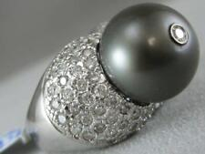 ESTATE 1.84CTW DIAMOND 13MM BLACK PEARL 18K WHITE GOLD COCKTAIL RING L1332.20.30