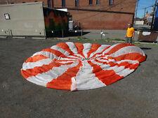 Us Military 28' Orange and White Nylon Circular Parachute (cut lines) Used