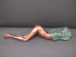 "Bronze Abstract Sculpture ""Lady Under Blanket"" Large"