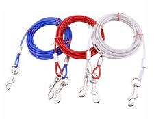 Strong Dog Tie-Out Cable Leads Metal Steel Wire Chain Leash Durable 10/16/32FT