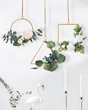 Artificial Rose Flower Eucalyptus Vine Wreath With Metal Ring Wall Hanging Decor