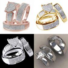 Fashion Wedding Ring Women 18k Yellow Gold Plated White Sapphire Ring Set Sz6-10