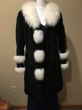 100% AUTHENTIC BRAND NEW BLACK & WHITE FOX AND RABBIT FUR JACKET COAT WOMAN