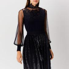 Coast CiCi Lace Knit Top Blue Size UK 10 rrp £79 DH081 HH 11