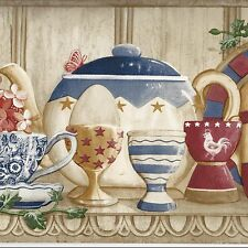 China Dishes Egg Cups Wallpaper Border - ONLY $8 - Country Shelf Borders - B059