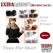 Faux Fur Short Wrist Arm Warmer 2 pairs Womens Winter Cuff Wristband Hand Wrist