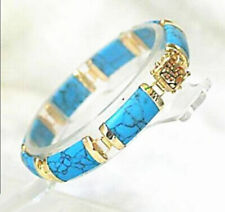 Turquoise Yellow Gold Plated Fortune Lucky Clasp Link Women Girl Bangle Bracelet
