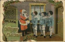 Christmas - Santa Claus & Girls c1910 Postcard