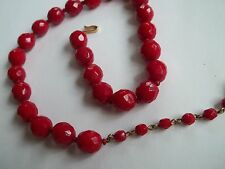 """HOBE vintage red glass necklace,great cnd,14""""+2 1/2""""extension,"""