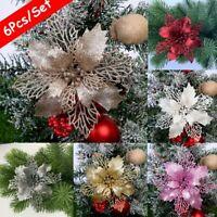 6PCS Glitter Hollow Christmas Flower Wedding Festival Party Decor Tree Ornament