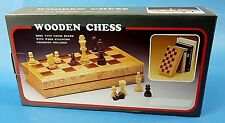 Wooden Book - Style Chess Board with Staunton Chessmen Home Office Travel Game