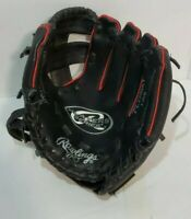 Rawlings Size 9 Inch Youth RHT Baseball Glove Players Series PL158PB black red