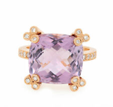 18K Pink Gold Natural Rose Amethyst Cushion Ring with Natural White Diamonds