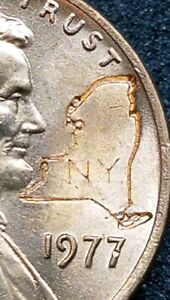 1977 LINCOLN CENT WITH New York map COUNTER STAMPED COIN free shipping