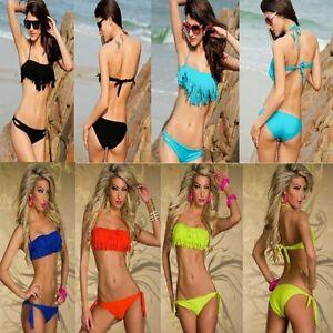Sz S M L New Sexy Halter Strapless Bandeau Fringe Top Bikini Swimwear Swimsuit