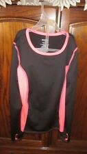 DANSKIN NOW =DRIMORE GIRLS BLACK/BRIGHT PINK ATHLETIC  L/S  SHIRT SIZE  L/G  10=