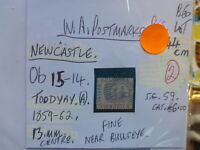 WEST AUSTRALIA POSTMARK ON SWAN STAMP NEWCASTLE OB 15-14 1859-62 ON 6d