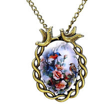 Bluebird Flower Necklace Flowers Vintage Antique Look Glass Cabochon Jewelry