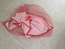 White Net Large Brooch Free P&P Attractive Handmade Red And White Stripe &