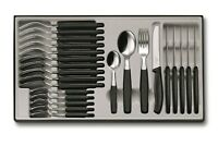 VICTORINOX 24 PIECE BLACK CUTLERY SET KNIFE , FORK & SPOONS 6.7833.24 SWISS MADE
