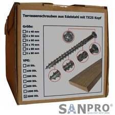 2000 x Terrassenschrauben 5x50 VA Edelstahl Torx Holzschrauben Terasen-Schrauben