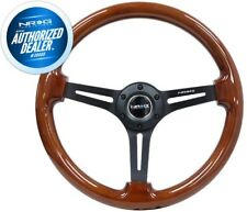 "NEW NRG Steering Wheel Brown Wood Grain Black Spokes 350mm 3"" Deep RST-018BR-BK"