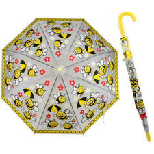 New Yellow Bee Print Childs Girls Kids Stick Umbrella With Hook Handle & Whistle