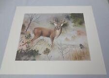 """Vtg Gary Crouch Lithograph Limited Edition """"Texas Whitetail"""" Pencil Signed COA"""