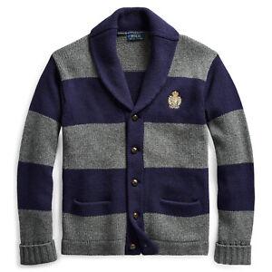 $298 NWT POLO RALPH LAUREN Men's Striped Merino Wool Cardigan Sweater Small S