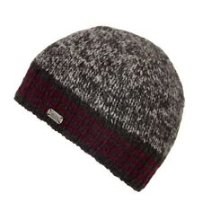 Kusan 100% Wool Rib Beanie Fleece Lined Grey with Blue or Red Band PK1619