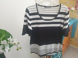 Betty Barclay Black And White Short Sleeved Top Size 16