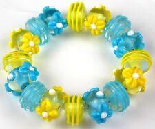 Lampwork Handmade Glass Beads Aqua Yellow Daisy Swirls Rondelle Loose Spacer