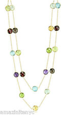 14K Yellow Gold Fancy Cut Gemstone Multi-Color Necklace By The Yard 36 Inches