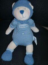 Doudou peluche LES TROIS OURS Linvosges blanc bleu rayé MRSA MOULIN ROTY 30cm