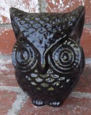 BLACK CERAMIC SMALL OWL PIGGY BANK FIGURINE WOODLAND ANIMALS BABY