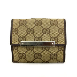 GUCCI GG Logo Pattern Beige Canvas Leather Bifold Wallet /70965
