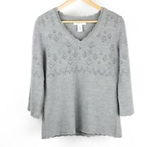 Mandarin Blue Womens Sweater Merino Wool 3/4 Bell Sleeves Pointelle M Gray O9