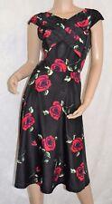 RUIYIGE Size 12-14 Cute 50's Style Rose Print Swing Dress Black Red Green BNWT