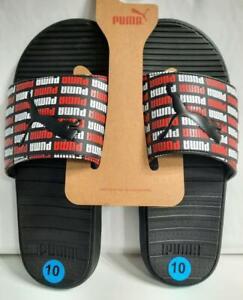 PUMA Men's Cool Cat Slides Knockout Black/White/Red Color Flip Flop Logo SIZE 10