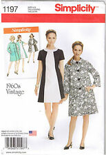 Vtg 60s Retro Color Block Dress Coat Simplicity Sewing Pattern 16 18 20 22 24