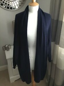 Woolovers  Navy Blue cashmere and merino mix long roll front cardigan size Large