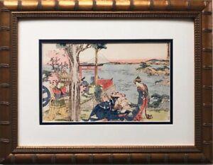 """Katsushika Hokusai """"Woodcut"""" 1806 New Custom Framed Asian Art Japan Geisha"""