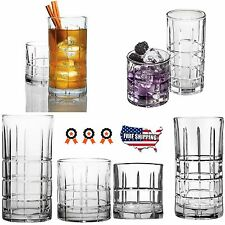 16 Piece Clear Drinking Glass Set Glassware Water Kitchen Beverage Cups Bar New