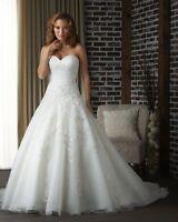 New White Organza Bridal Gown Wedding Dress Stock UK Size 8 10 12 14 16 18