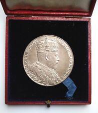 More details for 1902 edward vii coronation large silver medal 55mm  cased 85.5 grams