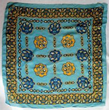 """Classic vintage crepe scarf Paisley pattern 26"""" square blue yellow IMPERFECT br"""
